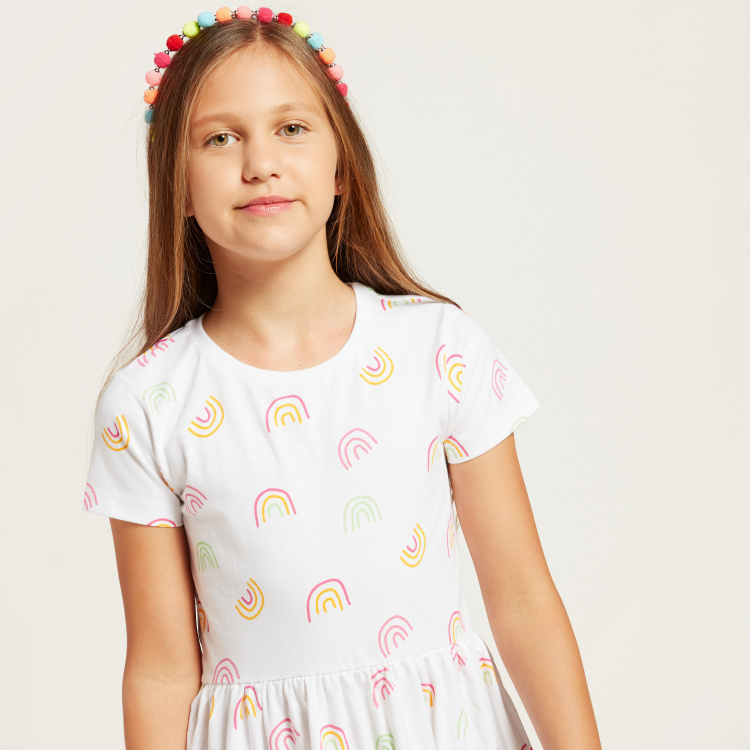 Juniors Rainbow Print Dress with Short Sleeves