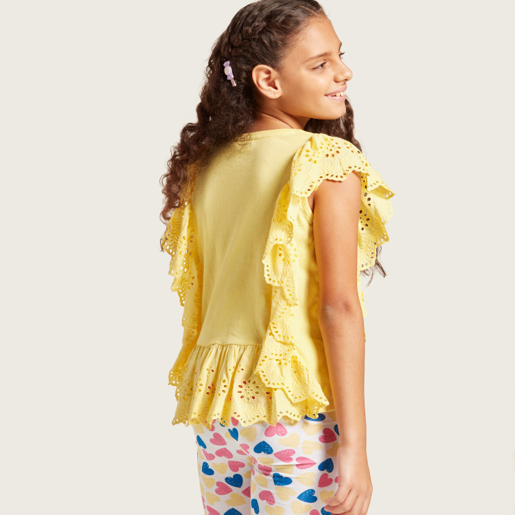Juniors Schiffli Detail Top with Round Neck and Ruffle Sleeves