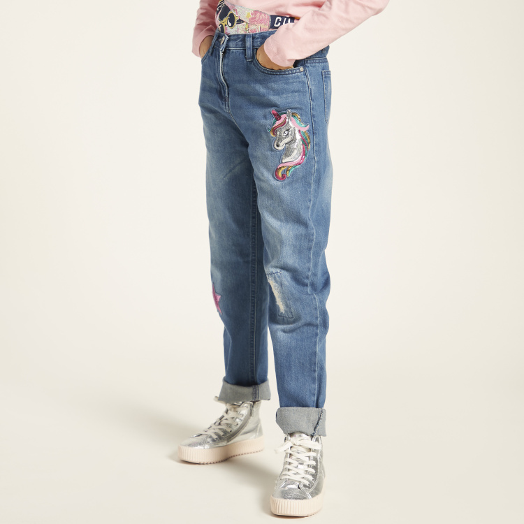 Juniors Sequin Embellished Denim Jeans with Button Closure