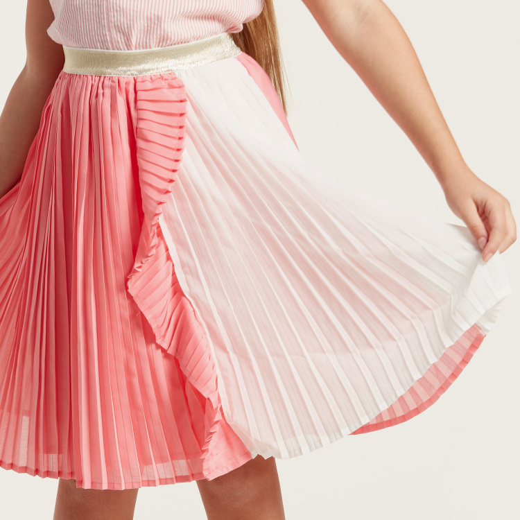 Juniors Pleated Knee-Length Skirt with Elasticated Waistband