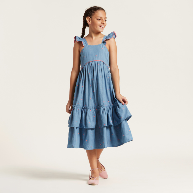 Juniors Embroidered Dress with Ruffle Detail and Square Neck