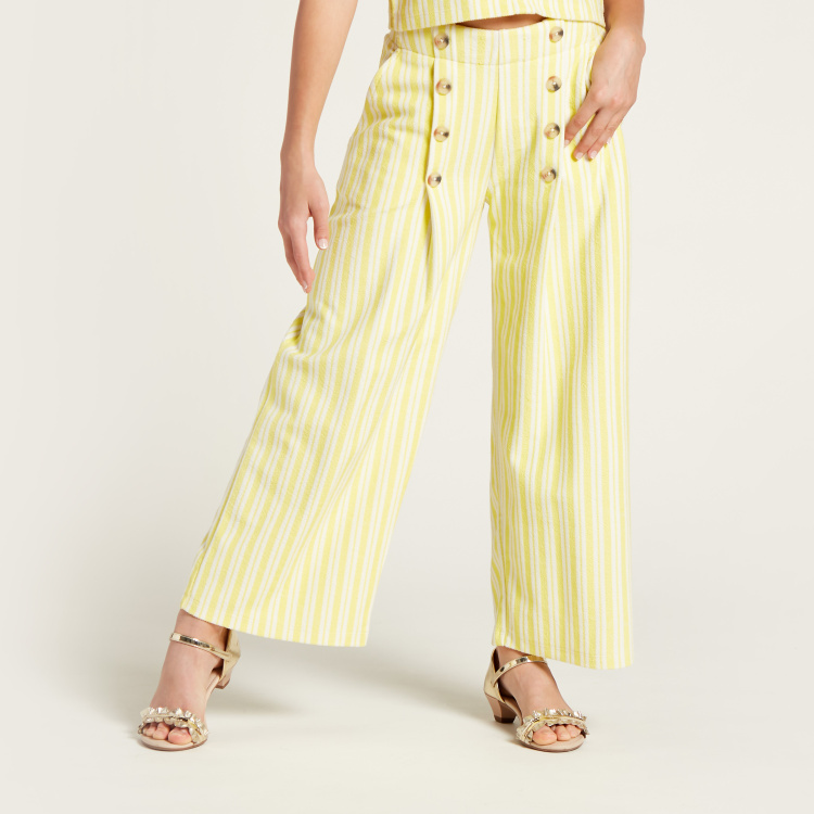 Juniors All-Over Striped Top with Pocket Detail Palazzo Pants