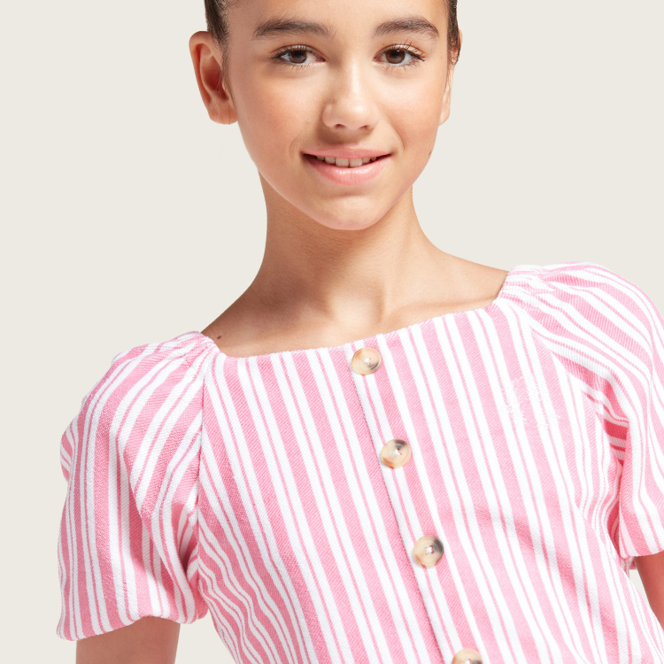 Juniors Striped Boat Neck Top and Wide-Legged Pants Set