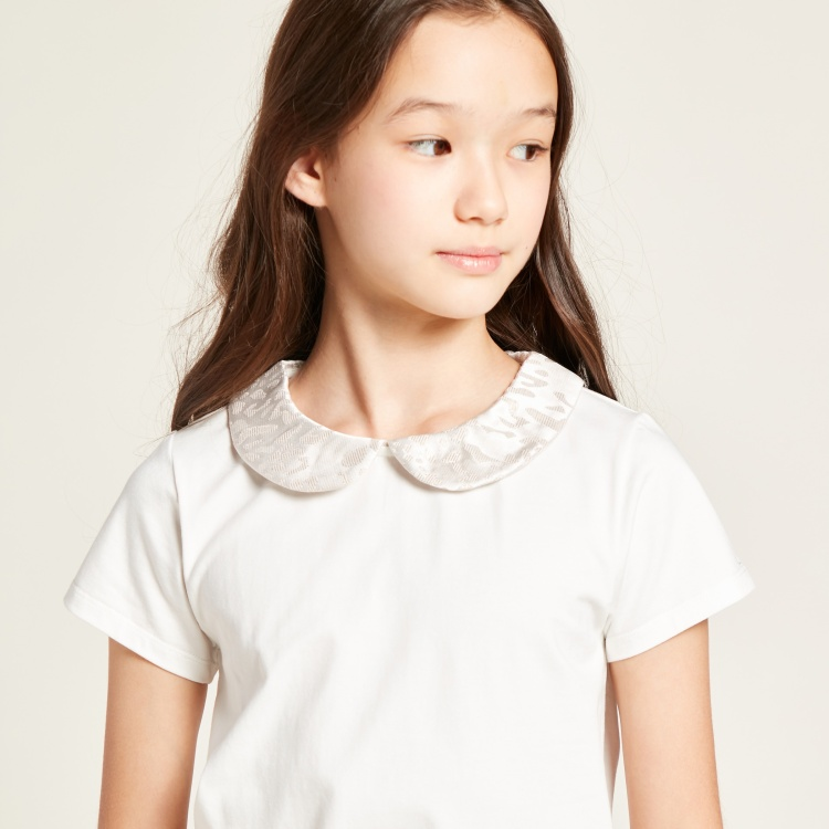 Juniors Solid Top with Peter Pan Collar and Short Sleeves