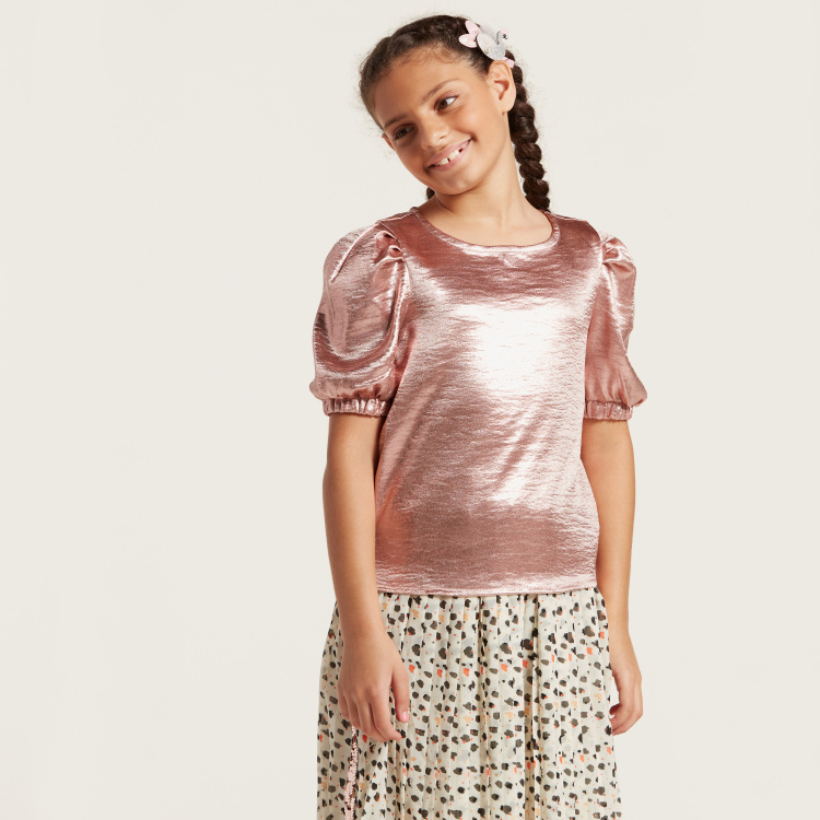 Juniors Solid Top with Round Neck and Puff Sleeves
