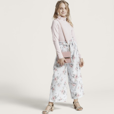 Juniors All-Over Floral Print Palazzo with Paperbag Waist and Tie-Ups