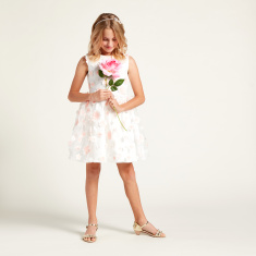 Juniors Floral Applique Detail Sleeveless Dress