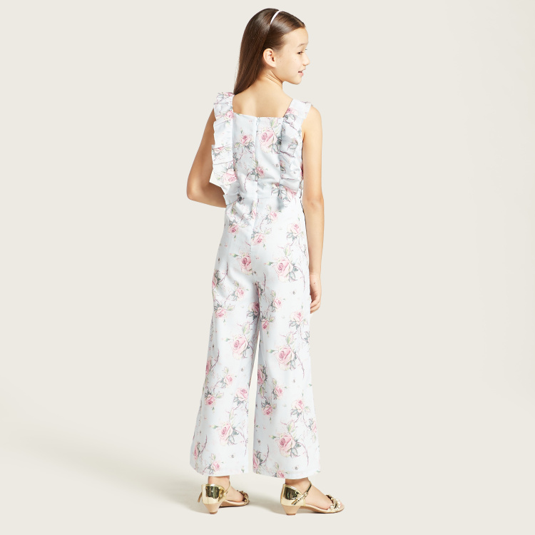 Juniors Floral Print Jumpsuit with Ruffle Detail and Zip Closure