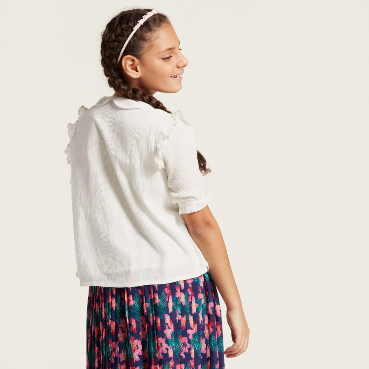 Solid Ruffle Detailed Top with Pintucks and Peter Pan Collar