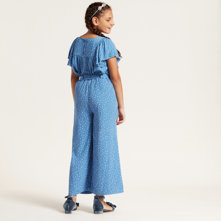 Spot Print Wide-Legged Jumpsuit with Short Frilly Sleeves
