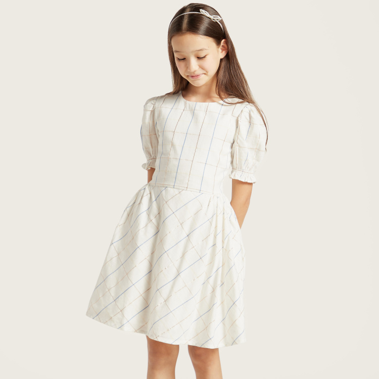 Eligo Round Neck Checked Dress with Side Pleats