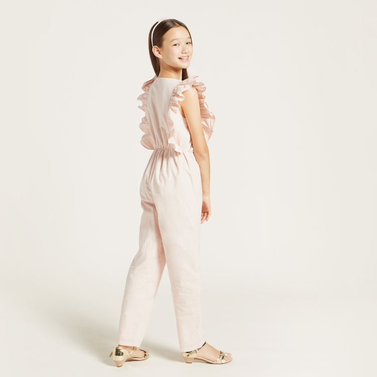 Solid Round Neck Jumpsuit with Frills