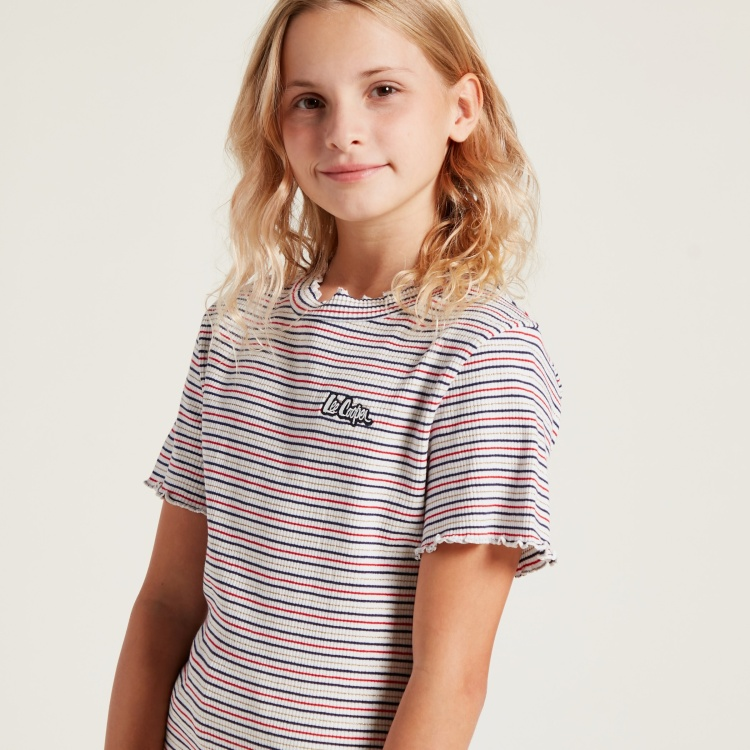 Lee Cooper Striped T-shirt with Round Neck and Short Sleeves