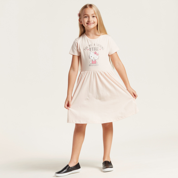 Sanrio Hello Kitty Print Round Neck Dress with Short Sleeves