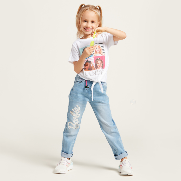 Barbie Sequin Detail Jeans with Pocket Detail and Belt Loops