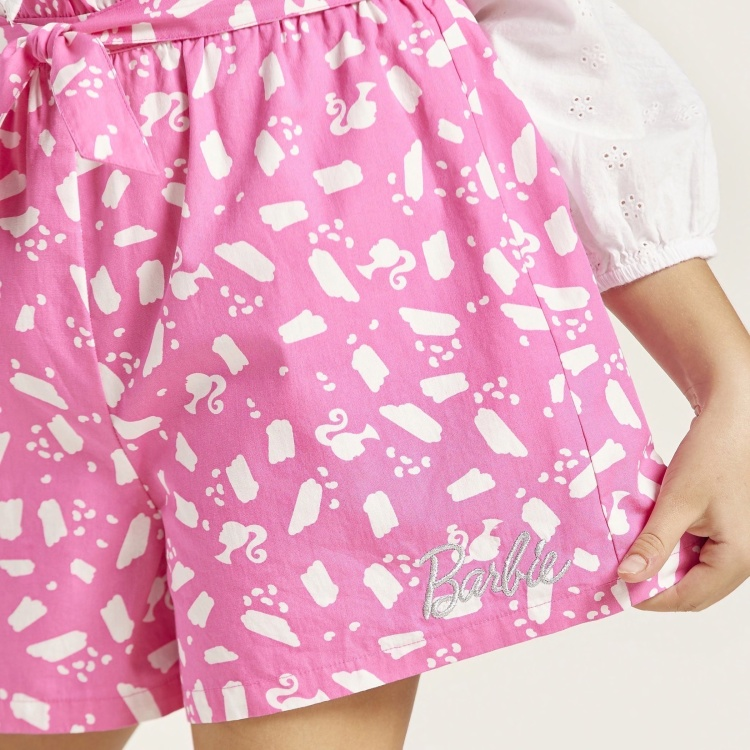 Barbie Print Shorts with Elasticated Paperbag Waist