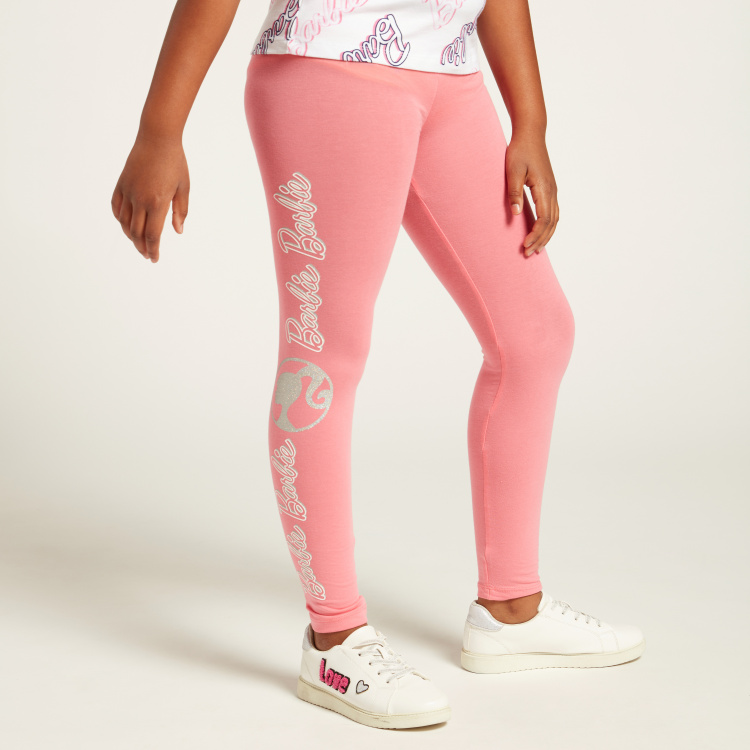 Barbie Graphic Print Leggings with Elasticised Waistband