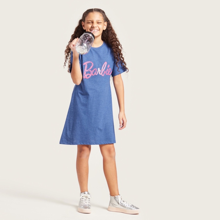 Barbie Text Print Dress with Round Neck and Short Sleeves