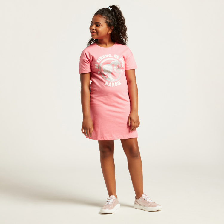 Barbie Print Round Neck Dress with Short Sleeves