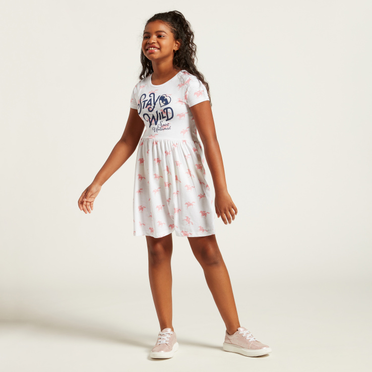 All-Over Spirit Print Dress with Round Neck and Short Sleeves