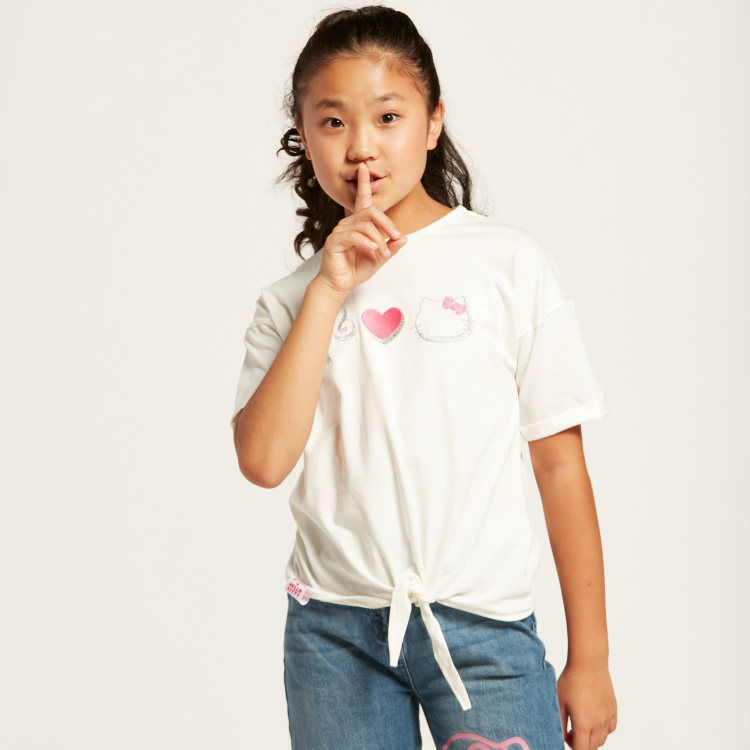 Sanrio Hello Barbie Print T-shirt with Short Sleeves and Knot Detail