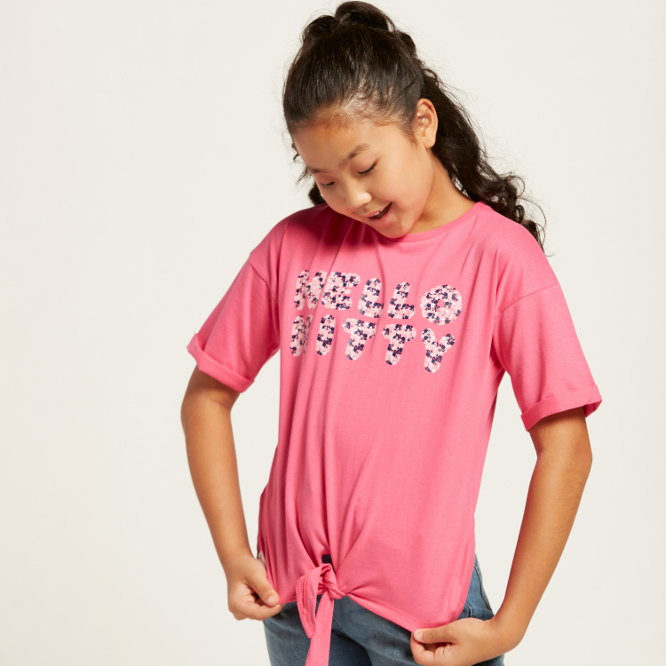 Sanrio Hello Kitty Print T-shirt with Short Sleeves
