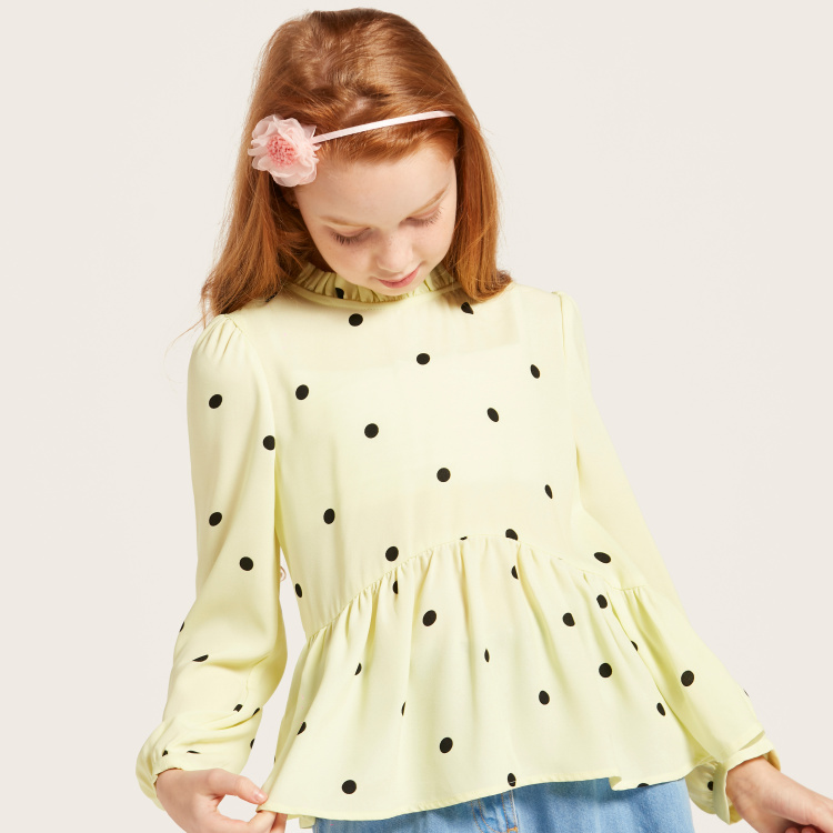 Iconic Polka Dot Print Round Neck Top with Long Sleeves