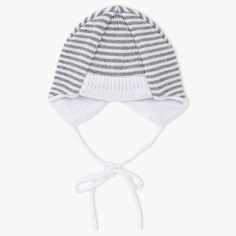 Juniors Striped Beanie Cap with Tie-Ups