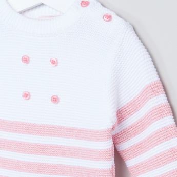 Juniors Striped Button Detail Long Sleeves Pullover