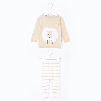 Juniors Long Sleeves T-Shirt with Striped Jog Pants