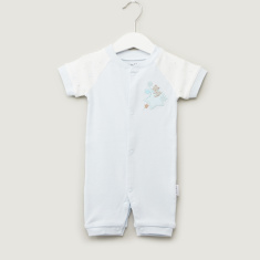 Juniors Embroidered Patch Romper with Short Sleeves