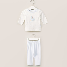 Juniors Embroidered Applique T-shirt and Solid Pyjama Set