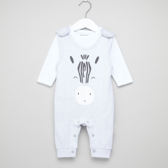 Juniors Long Sleeves T-Shirt with Printed Dungaree
