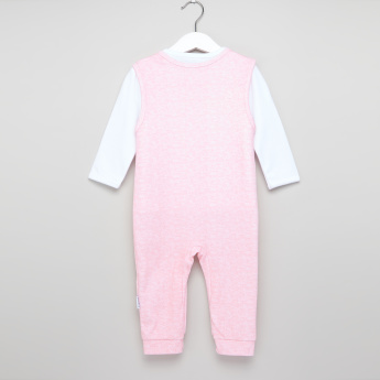 Juniors Printed Dungarees with Long Sleeves T-Shirt