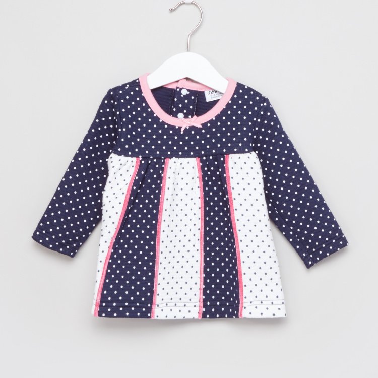 Juniors Polka Dot Printed Long Sleeves Top and Pyjama Set