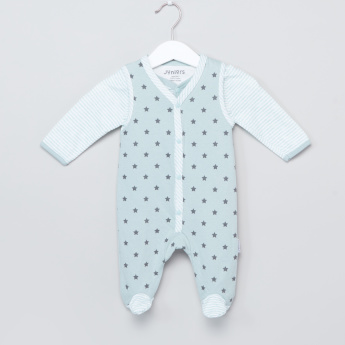 Juniors Printed Long Sleeves Shirt with Closed Feet Sleepsuit