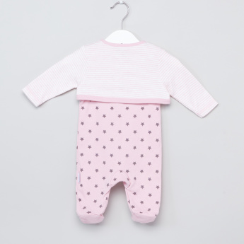 Juniors Closed Feet Sleepsuit with Striped Jacket