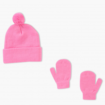 Juniors Printed Beanie Cap and Mittens Set