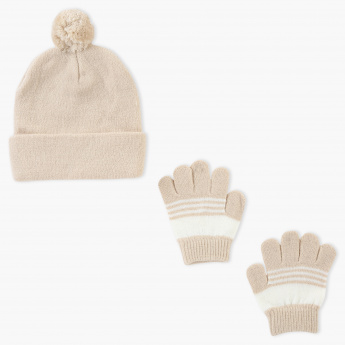 Juniors Beanie Cap and Gloves Set