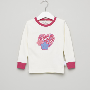 Juniors Heart Embroidered T-Shirt with Printed Jog Pants