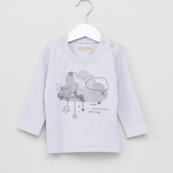 Giggles Printed Long Sleeves T-Shirt and Pyjama Set