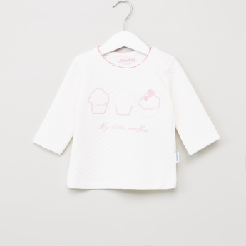 Juniors Applique Detail T-Shirt and Printed Pyjama Set