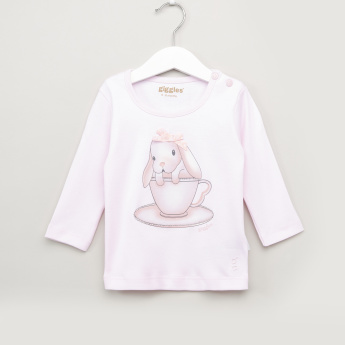 Giggles Printed Round Neck T-Shirt and Pyjama Set