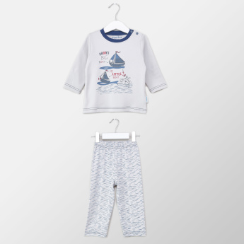Juniors Graphic Printed Long Sleeves T-shirt and Pyjama Set