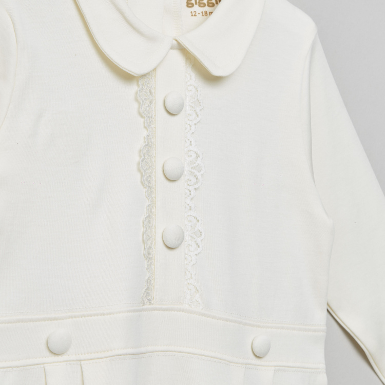 Giggles Solid Collared Sleepsuit with Long Sleeves and Lace Detail