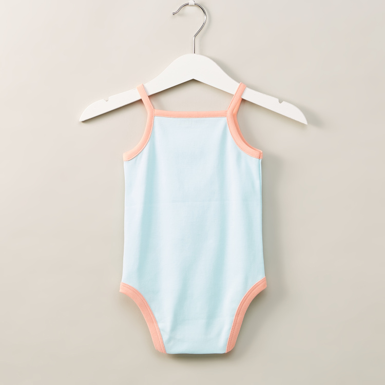 Juniors Flamingo Print Sleeveless Bodysuit with Applique Detail