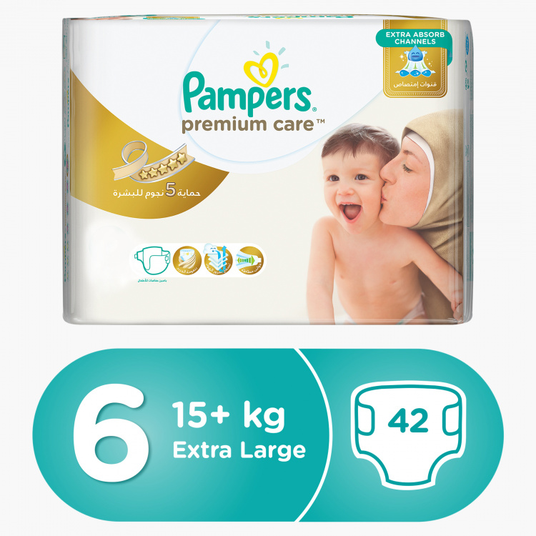 Pampers Premium Care Extra Large Size XL, 42-Diapers Pack - 15+ kgs