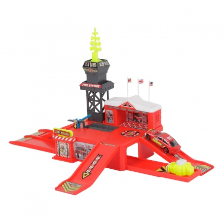 Action City Fire Station Car and Launcher Playset