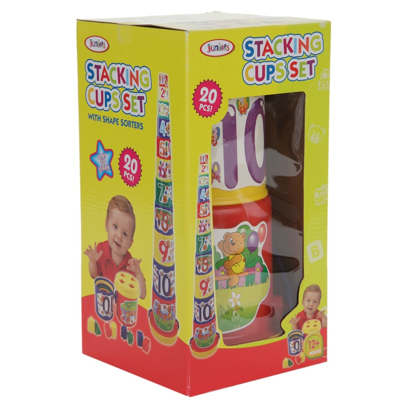 Juniors Stacking Cups Set with Shape Sorters - 20 Pieces