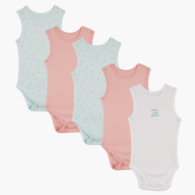Juniors Printed Round Neck Bodysuit - Set of 3